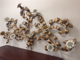 Italian floral wall sconce about 4' long, flowers light up.