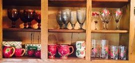 Grouping of Amber pedestal glassware, Darlene Grey pedesatal glassware,