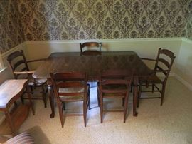 Vintage Mahogany Dining Room Table & Six Brush Chairs, All In Great Shape