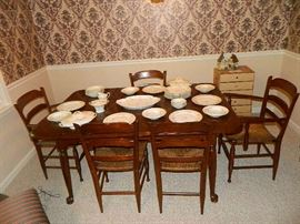 Look At The Beautiful China On Dining Room Table & Chairs