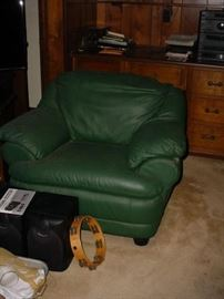 Another leather chair, tambourine, and more