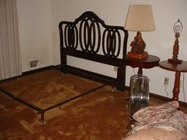 One of the bedroom headboard frames, and the vintage side tables, and lamps
