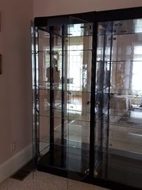 Two glass shelf double glass door lit cabinets