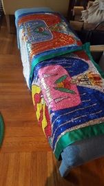 Most likely one of a kind handmade fully sequined textile. Made by Haitian artist. Signed.