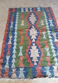 RUG hand woven wool green blue, other. No odors.
