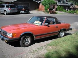 1977 Mercedes 450 SL; 115,000; third owner; leather interior; hardtop included.  Will be at the Greenwood car Show on Saturday; $8000.