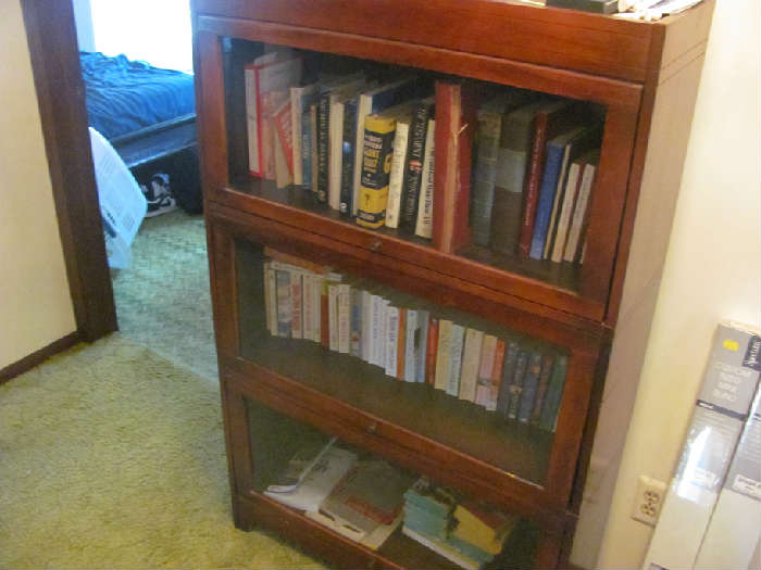 Glass door stackable bookcases
