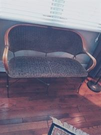 Rattan and wicker settee