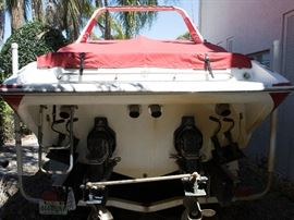 29 foot 1995 Baja Boat 290 offshore with 2 Bravo one out drive mercury and 2015 aluminum tri-axe trailer