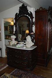 19th Century Dresser & Mirror. Manufactured by A.C. Richards - Cincinnati, Ohio.