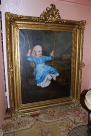 """1870 Painting signed by """"Merrill"""". Canvas Measures 42"""" Wide x 45"""" High. Beautiful Frame!"""
