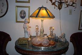 Unique Slag Glass Lamp.