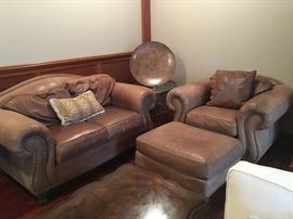 Ethan Allen Leather Loveseat, Chair and Ottoman.  Sofa and additional ottoman also available (see additional photos)