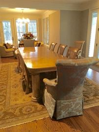 Drexel Heritage Dining Room Table with 8 chairs / Large Ethan Allen Hand Made Rug