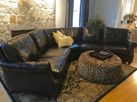 Stunning Chocolate Brown Leather Sectional / Ethan Allen Hand Made Rug (Ottoman not included in sale)