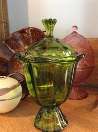 beautiful green glass candy dish