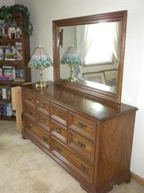 DRESSER WITH MIRROR AND BOOKCASE