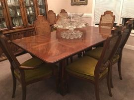 "Drexel dining table and six cane-back chairs with velvet upholstery (great condition); table has two leaves and measures 110"" with both in but works well without leaves for daily or more intimate gatherings"