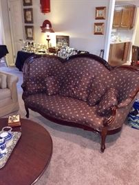 Victorian sofa, nice brown floral fabric
