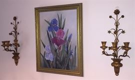 Nice Iris oil painting and sconces