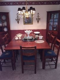 Mahogany drop leaf table with 8 chairs. Handcrafted in Rogersville, TN