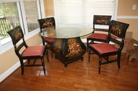 """Beautiful breakfast glass top table and 4 chairs Table is 48"""" wide"""