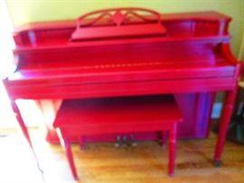 Red upright piano w/bench