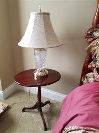 small round folding table $40.    side lamps $50