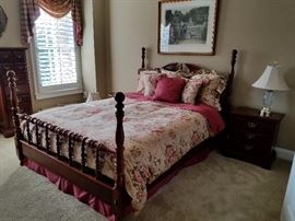Queen bedroom set: bed (bedding sold separately) $300, night stand $100, large dresser with mirror $225