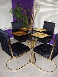 GLASS TOP DINING TABLE WITH CHAIRS - LOVELY!