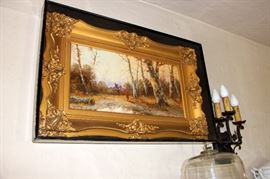 Late 19th - Early 20th C. O/C Landscape Illegible Signature.  Mounted Under Glass to Protect from Coal Soot. Restored by Wiebold's.