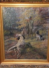 "36"" X 28"" O/C Edmund H. Osthaus Two Sporting Dogs in the Field ca. 1902"