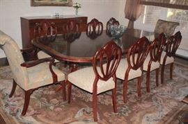 Quality Vintage Dining Room Table and Eight Chairs Matching Chairs & 2 Upholstered Chairs,