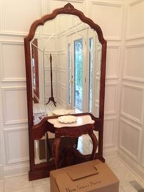 Hall Mirror with Small Marble Top Table