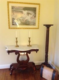 Marble Top Table with Lyre Base, Framed Print, Tall Pedestal,  Decorative Trunk