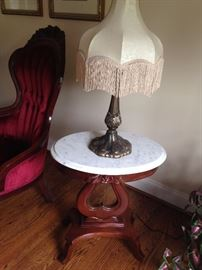Small Marble Top & Lamp