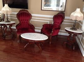 Victorian Classics Inc. Parlor Chairs, Marble Top Tables & Lamps