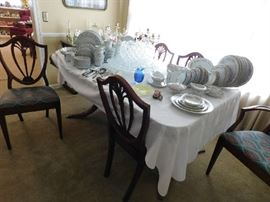 Mahogany Dining Table, 6 Shield back Chairs, Noritake China, Pattern Glass Punch Bowl-12 cups-Underplate