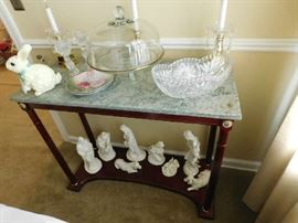 Marble top table, covered cake stand, Nativity Set