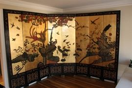 Stunning 8-Panel Room Divider with gold leaf accent