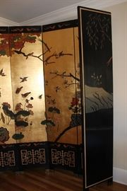 Stunning 8-Panel Room Divider with gold leaf accent-the reverse side also has a asian-themed landscape!