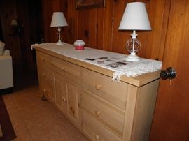 Broyhill dresser, has matching mirror which is not shown.  Matching pair of white and glass lamps