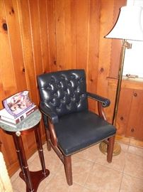 Navy leather side chair, marble top side table, floor lamp