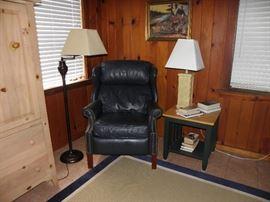 Navy leather recliner, floor lamp, shutter base lamps