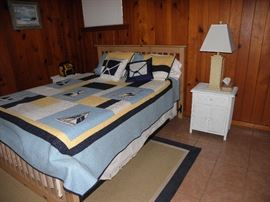 Broyhill bed shown.  Two white matching side cabinets