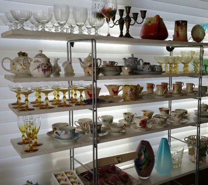 Depression glass,  tea cups, tea pots, porcelain