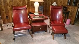 Pair Retro Style Chairs and End Table