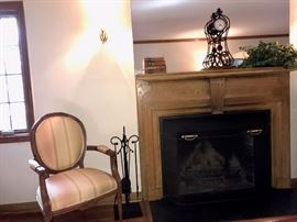 Fireplace tools, Bronze Mantel Clock, Accent Farbric Arm Chair