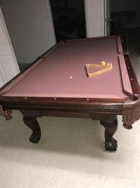 VINTAGE CLAW FEET WOODEN POOL TABLE-WITHOUT SLATE
