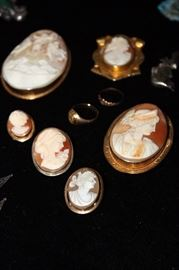 Antique cameo's, some gold